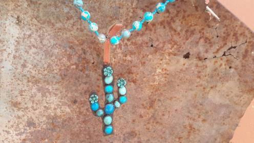 Turquoise Saguaro Cactus Bloom Necklace